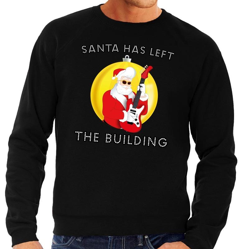 Foute kersttrui zwart Santa Elvis has Left the Building heren