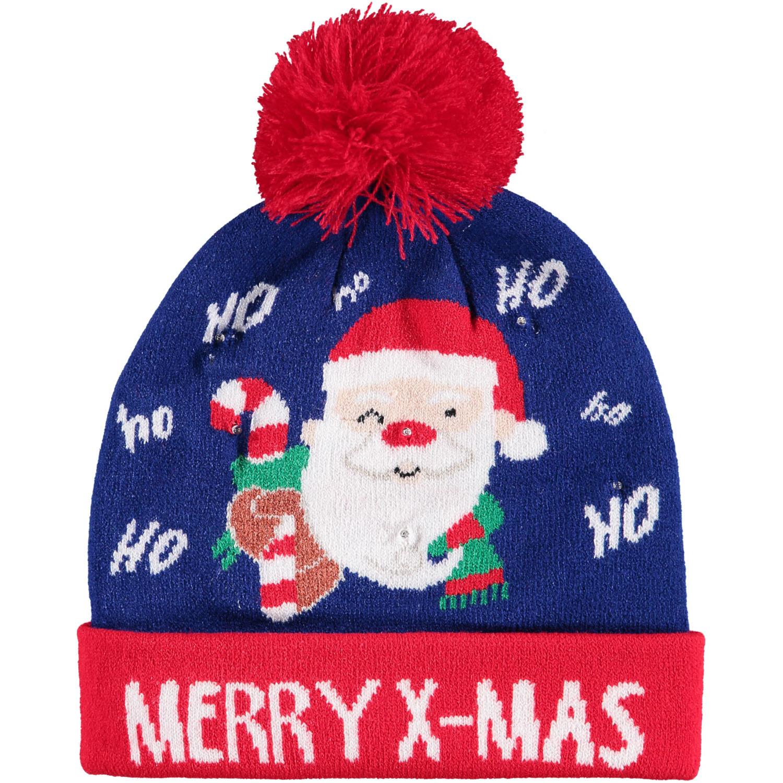 Foute kinder kerstmutsen/wintermutsen Merry X-Mas met verlichting