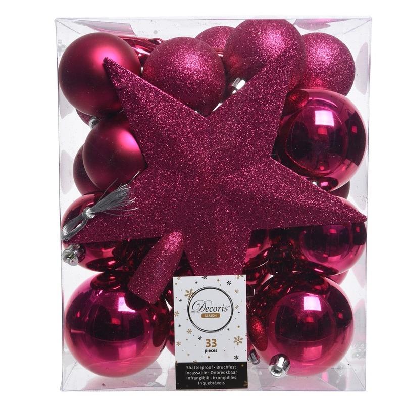 Fuchsia roze kerstballen pakket met piek 33 stuks