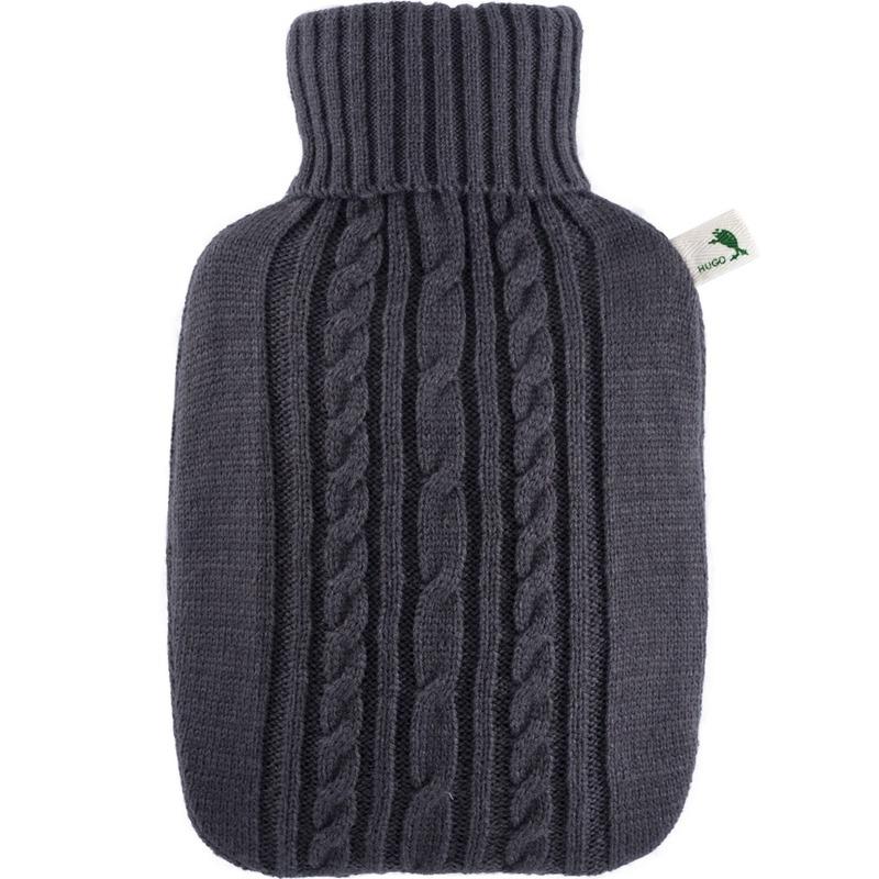 Gebreide kruik donker grijs 1,8 liter met kabelpatroon