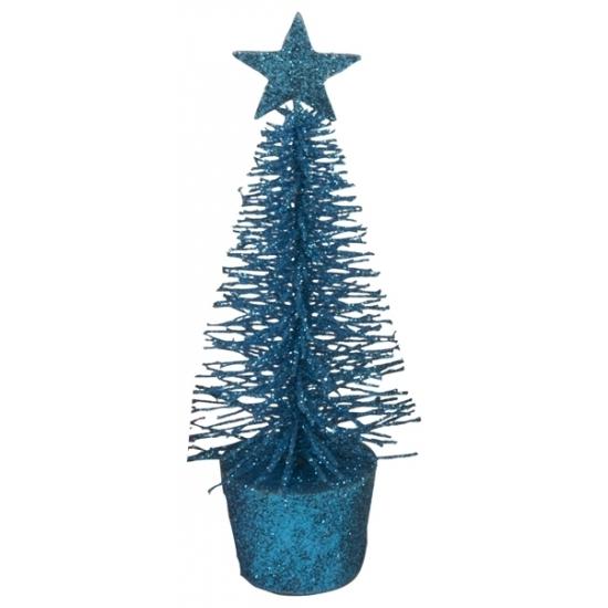 Glitter mini kerstboompje blauw