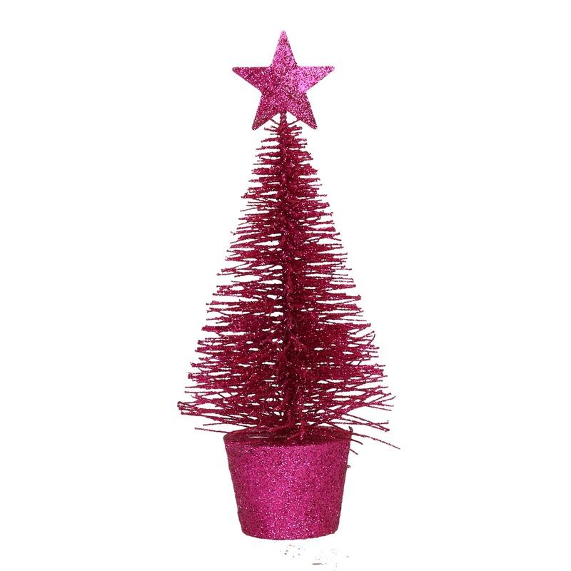 Glitter mini kerstboompje fuchsia roze