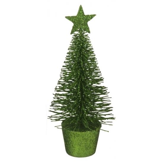 Glitter mini kerstboompje groen