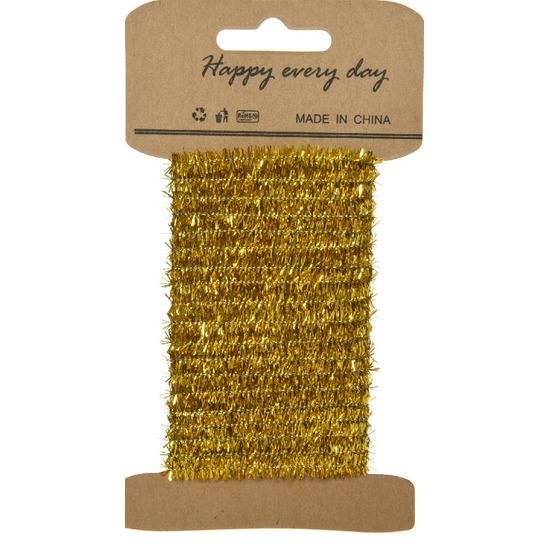 Goud lametta lint ijzerdraad op rol 200 cm - kerst artikelen