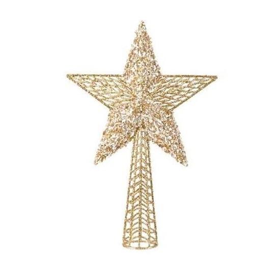 Gouden glitter ster kerstboom piek 36 cm