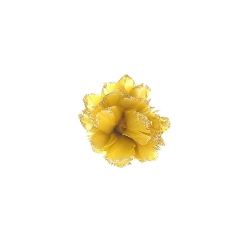 Goudgele bloem decoratie met glitters