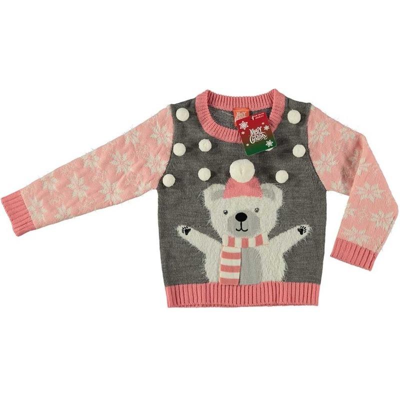 Grijze kersttrui ijsbeer voor meisjes maat 116/122