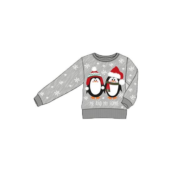 Kersttrui Poes.Grijze Kinder Kersttrui Met Pinguins Voor Kerst Bestellen Kerst