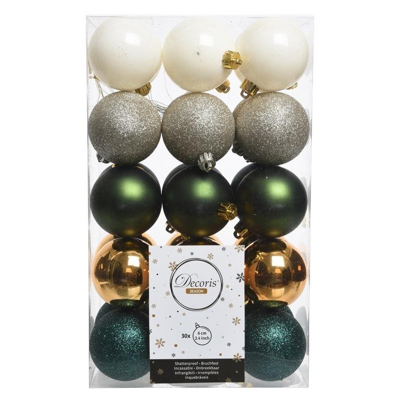 Groen/witte kerstversiering kerstballenset kunststof 6 cm