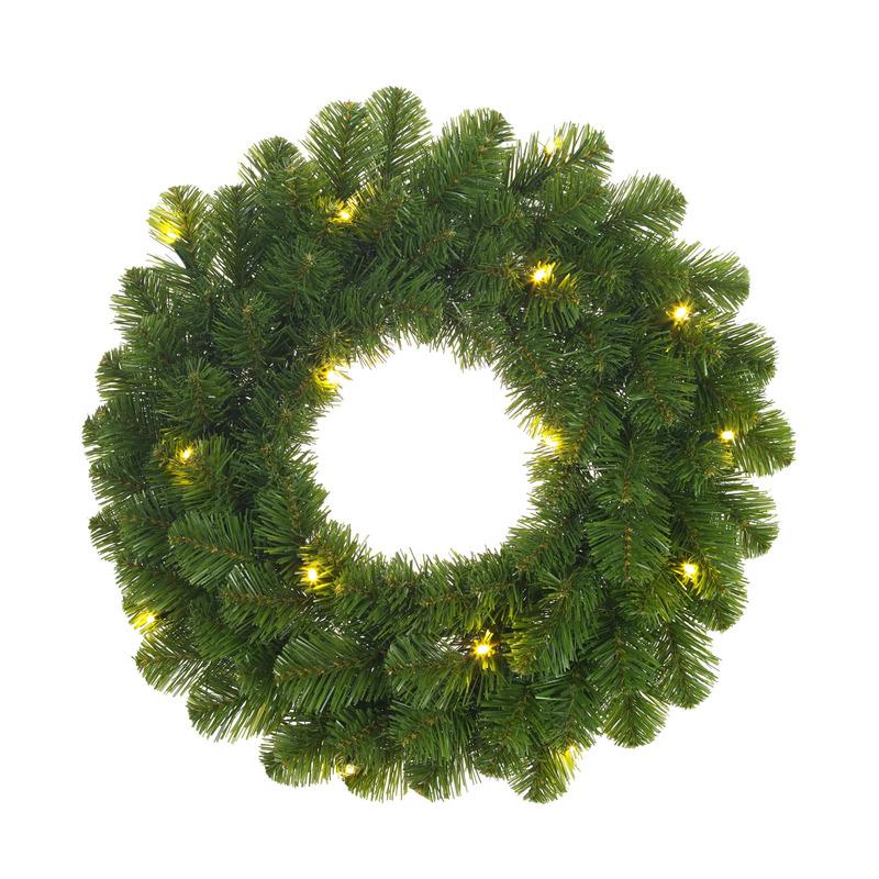 Groene verlichte kerstkransen-deurkransen met 30 LEDS 60 cm