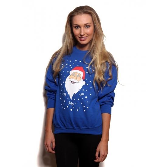 Kersttrui Kerstman.Grote Maten Blauwe Kersttrui Met Kerstman Voor Kerst Bestellen