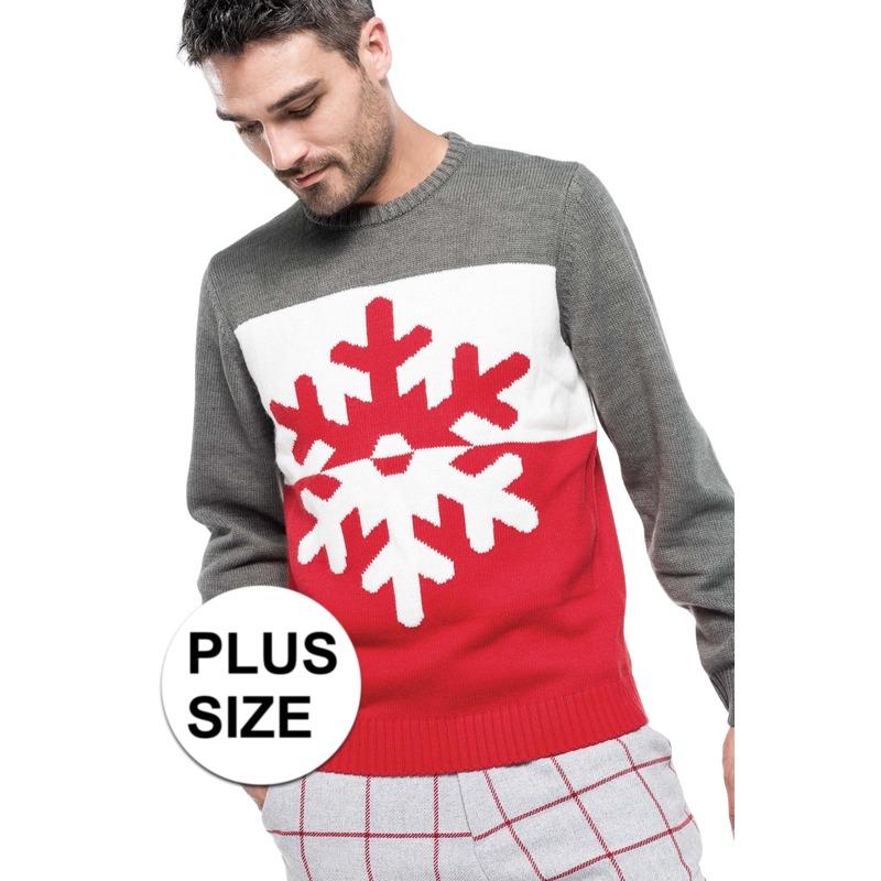 Grote maten foute kersttrui grijs/rood met sneeuwvlok voor heren