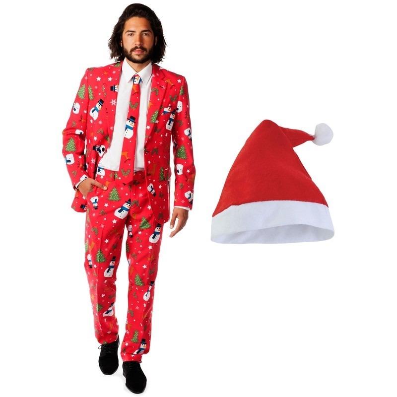 Heren Opposuits Kerst kostuum rood met kerstmuts - maat 52 (XL)