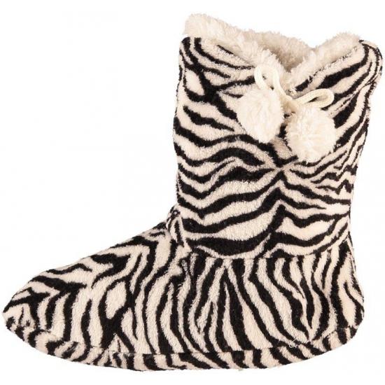 0341f558d9573b Hoge dames slof sokken met zebra print zwart/wit voor kerst ...
