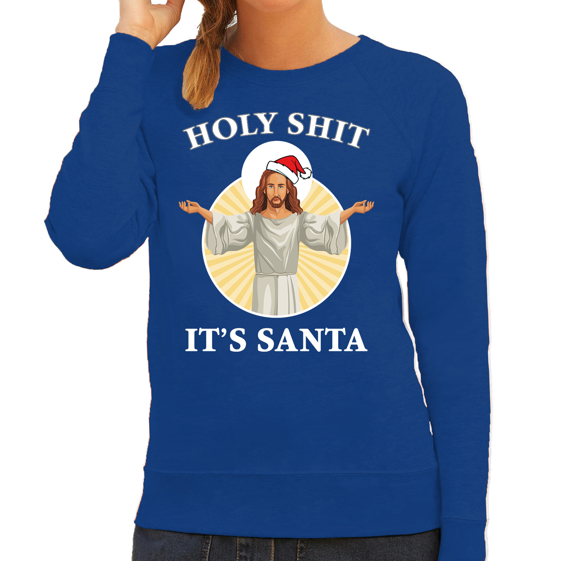 Holy shit its Santa fout Kerstsweater - outfit blauw voor dames