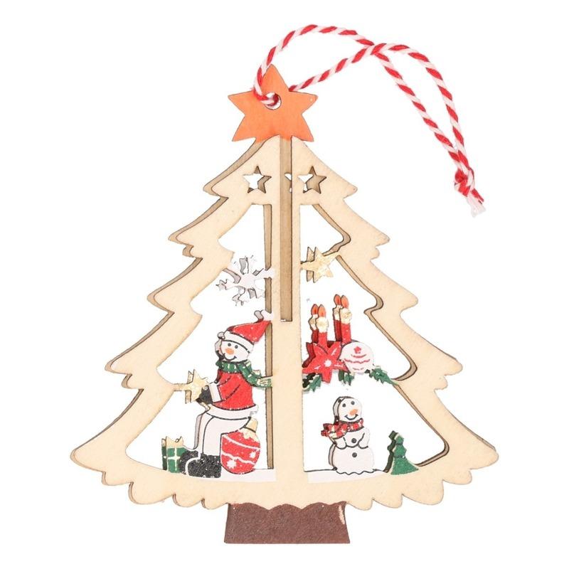 Houten boom met sneeuwpop kerstversiering hangdecoratie 10 cm