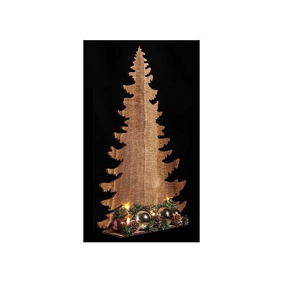 Houten kerstboom koper met licht 39 cm