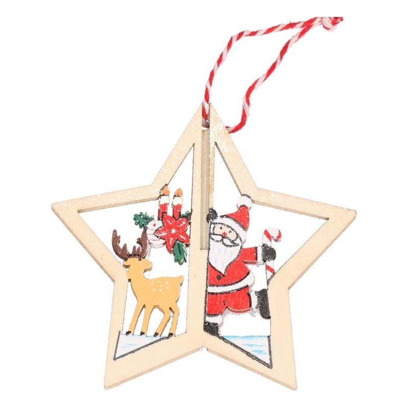 Houten ster met rendier kerstversiering hangdecoratie 10 cm