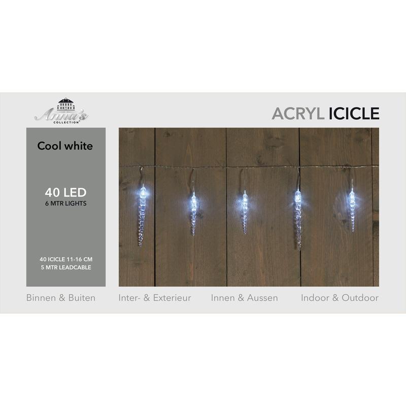 Ijspegelverlichting transparant lichtsnoeren met 40 witte lampjes