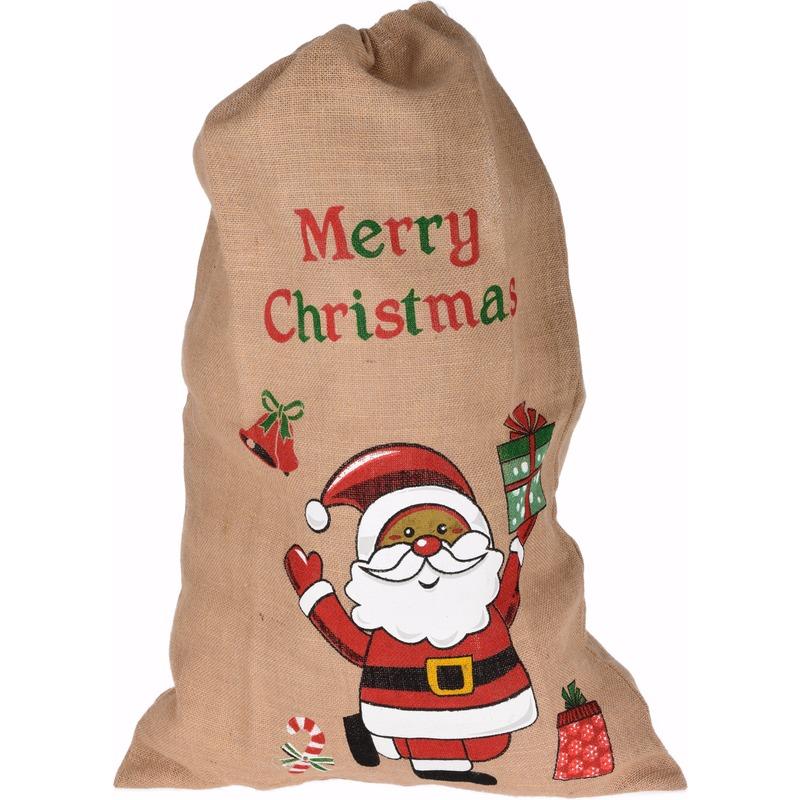 Jute kerst cadeauzakken met kerstman 90 cm
