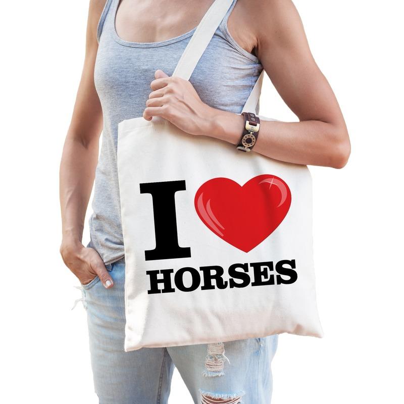 5f5df0f1807 Katoenen tasje I love horses/ paarden voor kerst bestellen, Kerst ...