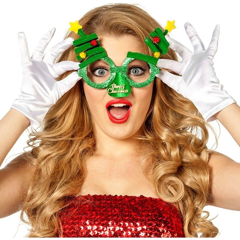 Kerst feest/verkleed bril groen met kerstbomen voor volwassenen
