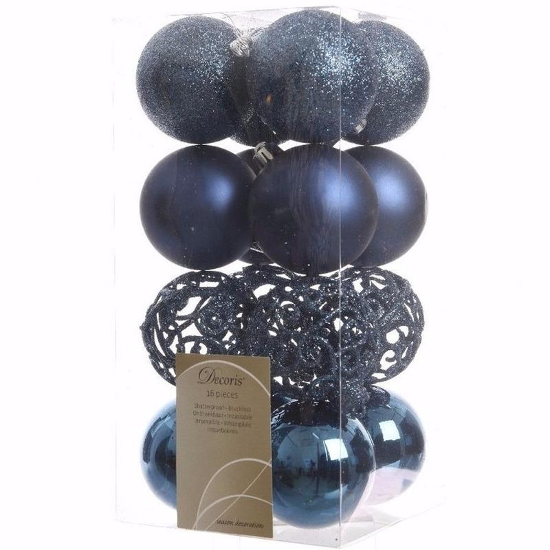 Kerst kerstballen blauw 6 cm Elegant Christmas 16 stuks