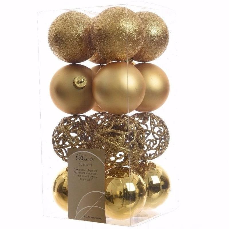 Kerst kerstballen goud 6 cm Christmas Gold 16 stuks