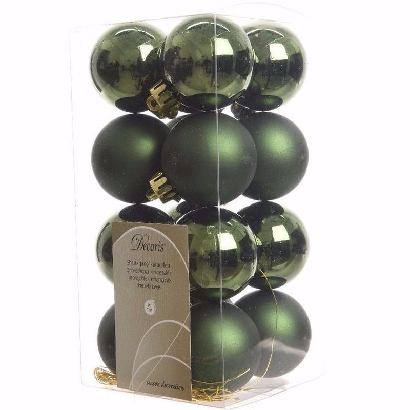Kerst kerstballen groen mix 4 cm Nature Christmas 16 stuks