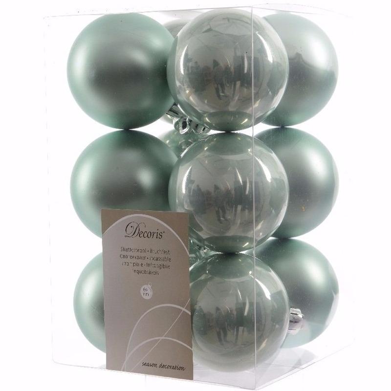 Kerst kerstballen mint 6 cm Sweet Christmas 12 stuks