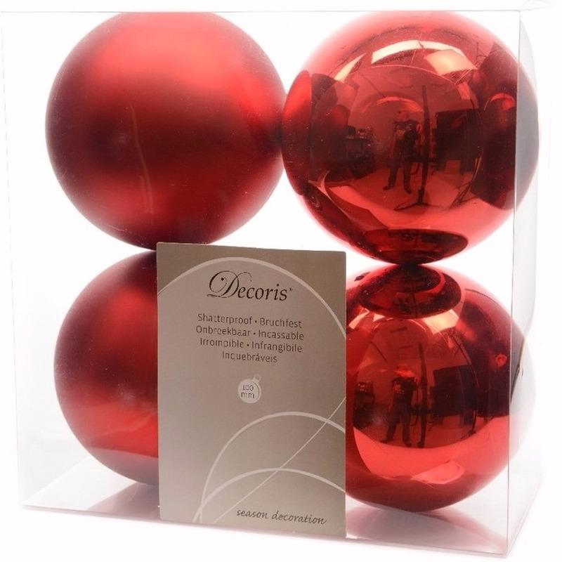 Kerst kerstballen rood 10 cm Ambiance Christmas 4 stuks