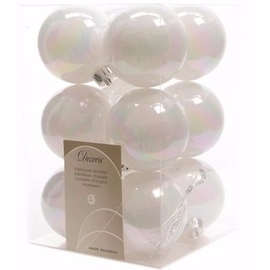 Kerst kerstballen wit 6 cm Elegant Christmas 12 stuks
