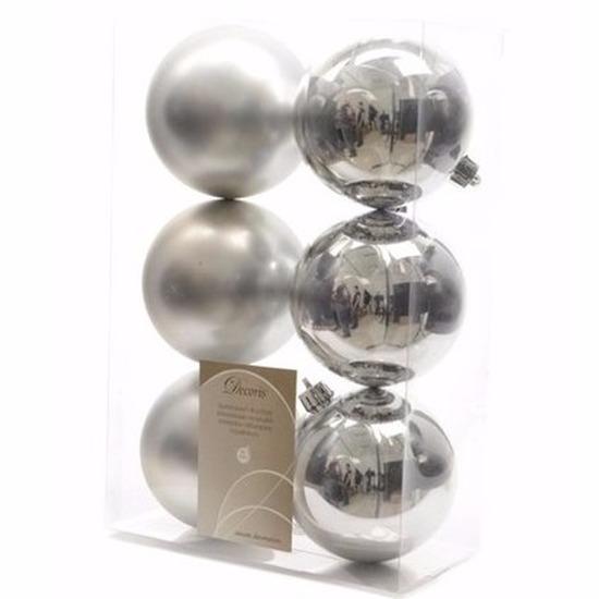 Kerst kerstballen zilver 6 cm Christmas Silver 6 stuks