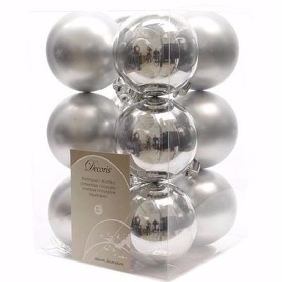 Kerst kerstballen zilver 6 cm Mystic Christmas 12 stuks