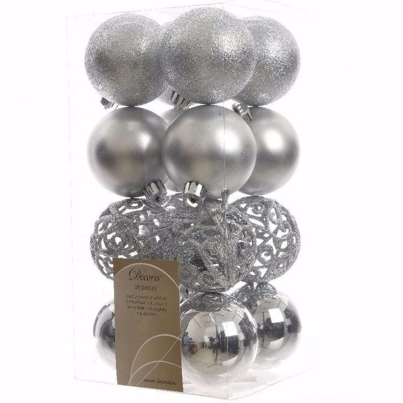 Kerst kerstballen zilver 6 cm Mystic Christmas 16 stuks