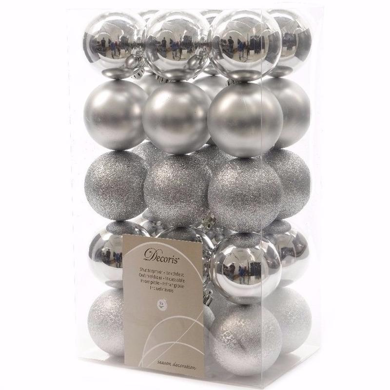 Kerst kerstballen zilver mix 6 cm Elegant Christmas 30 stuks