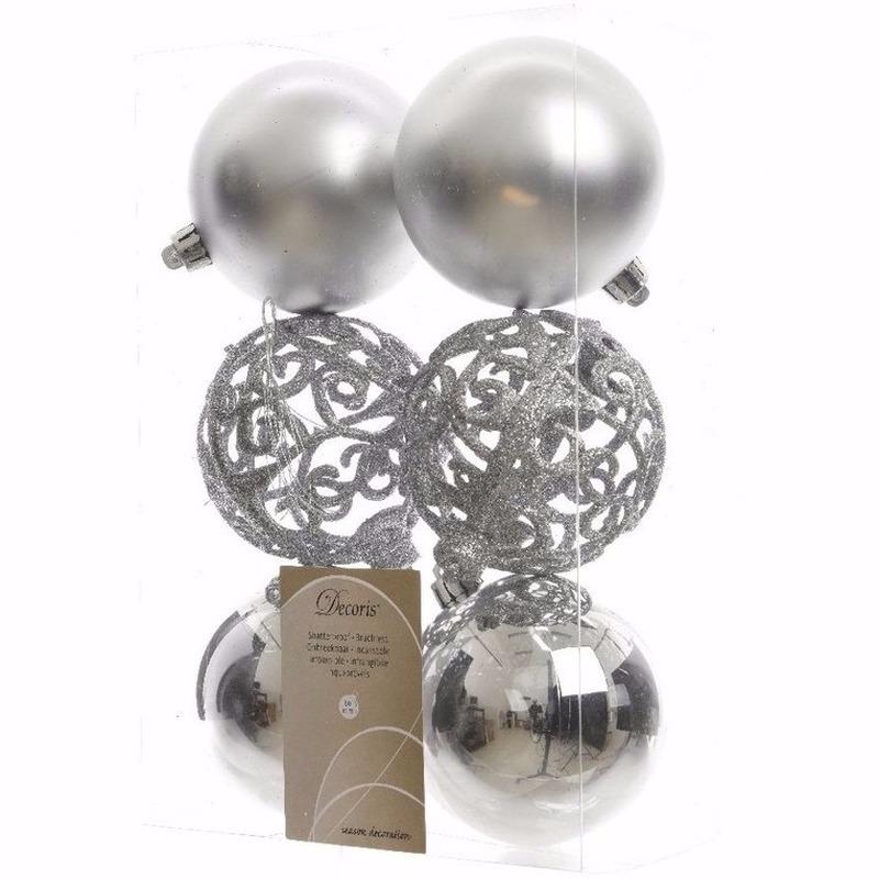 Kerst kerstballen zilver mix 6 cm Sweet Christmas 6 stuks