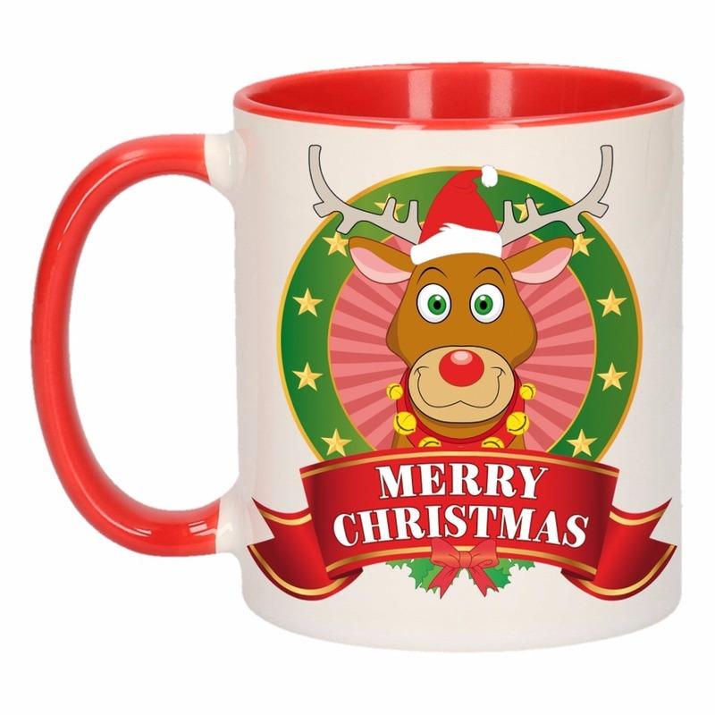 Kerst mok - beker met rendier print 300 ml