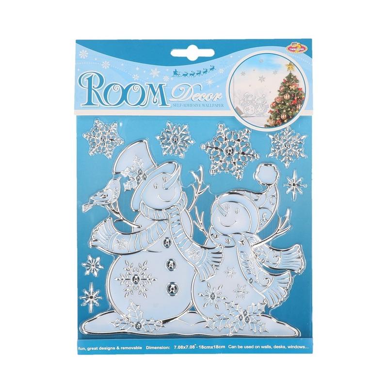 Kerst raamstickers/raamdecoratie sneeuwpop plaatjes 18 x 24 cm