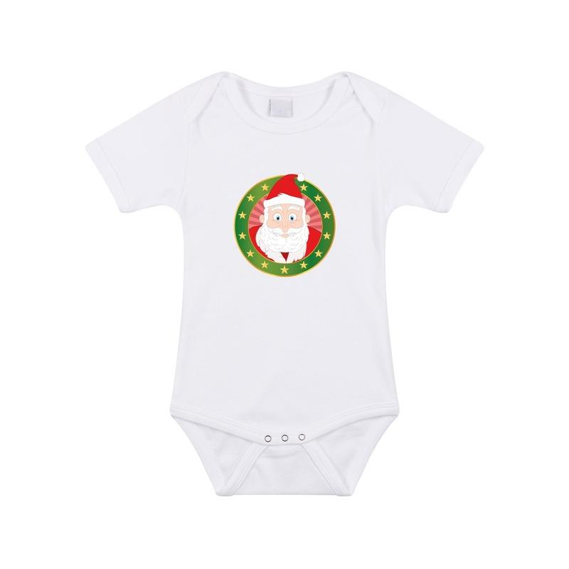 Kerst rompertje met Kerstman print wit baby