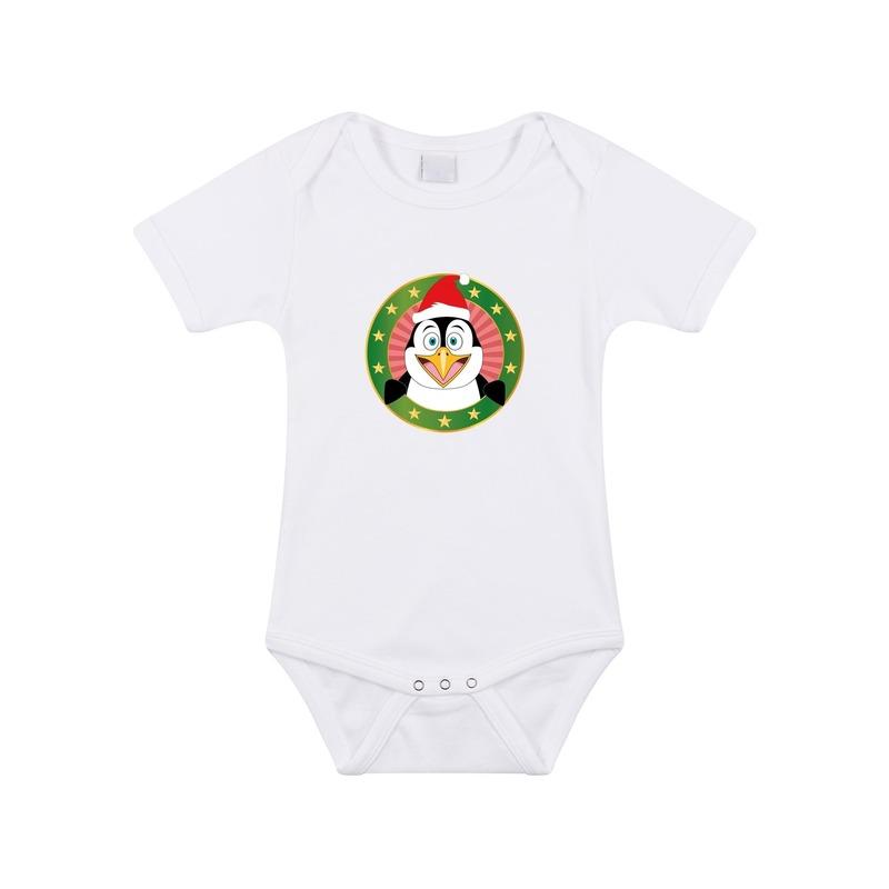 Kerst rompertje met pinguin print wit baby