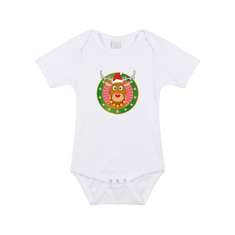 Kerst rompertje met Rendier Rudolf print wit baby