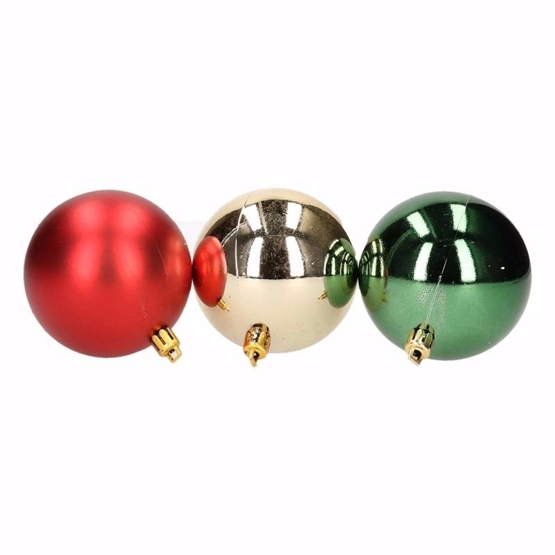 Kerst rood/groene kerstballen mix Traditional Christmas 6 stuks