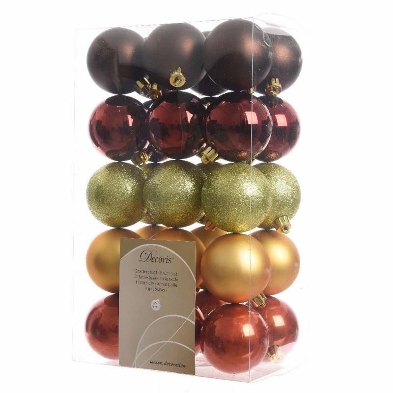 Kerstboom Decoratie Kerstballen Mix Rood Bruin 30 Stuks Voor Kerst