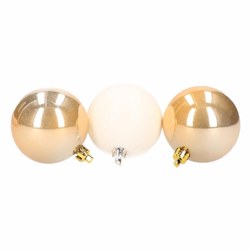 Kerstboom decoratie kerstballen mix wit/goud 9 stuks 6 cm