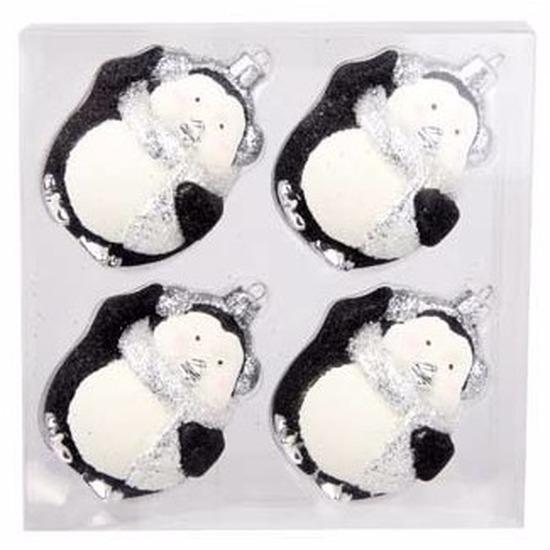 Kerstboom decoratie kerstballen pinguin zwart 4 stuks