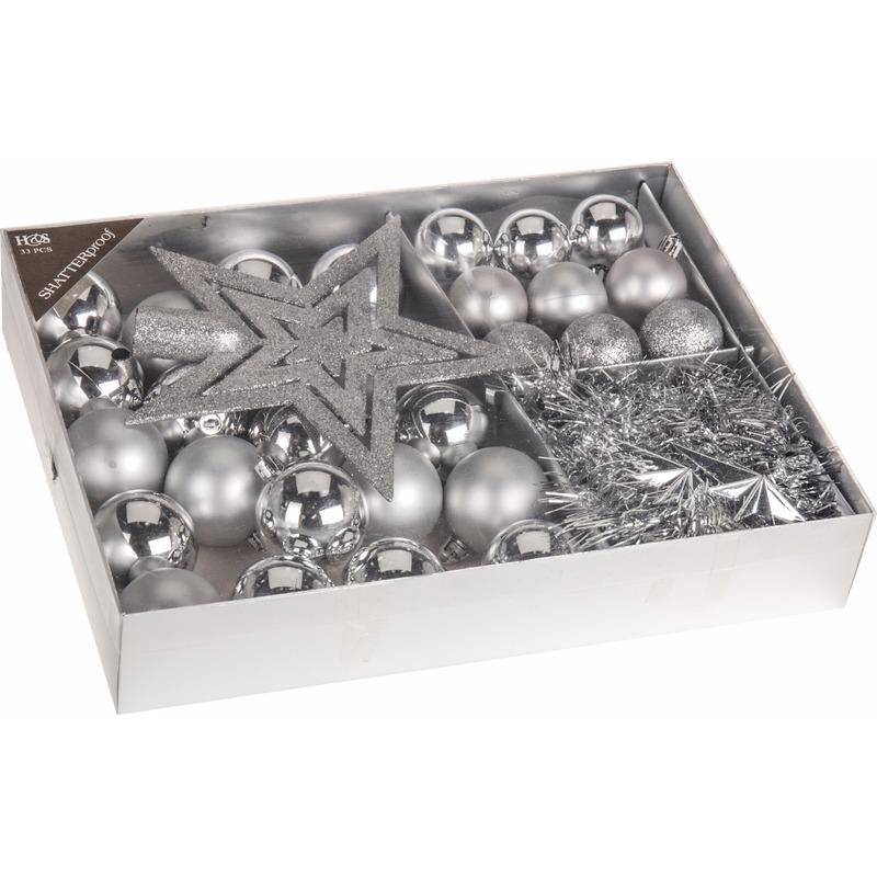 Kerstboom decoratie set 33-delig Classic Silver