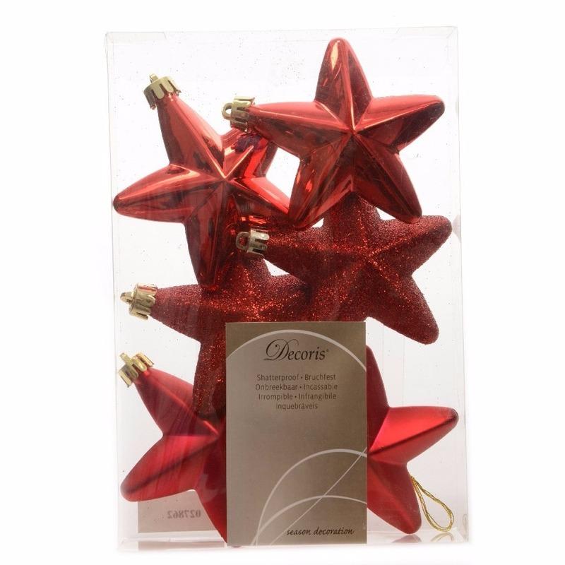 Kerstboom decoratie sterren rood 6 stuks Elegant Christmas 7 cm
