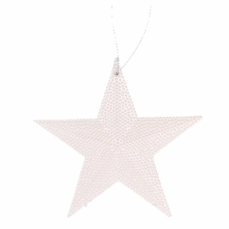 Kerstboom decoratie witte ster hanger 10 cm