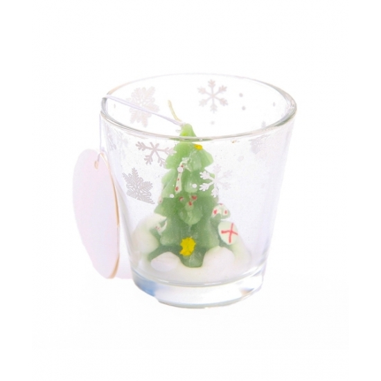 Kerstboom kaarsje in glas 6,5 cm
